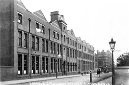 Photo:Exterior view of the Great Central Railway Goods Dept Office, Lisson Grove, with Portman Buildings in the background.