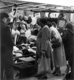 Photo:View of hat stall in Church Street 1958