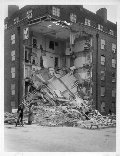 Photo:View of bomb damage to Whitfield House, Salisbury Street taken from the junction with Broadley Street in May 1941